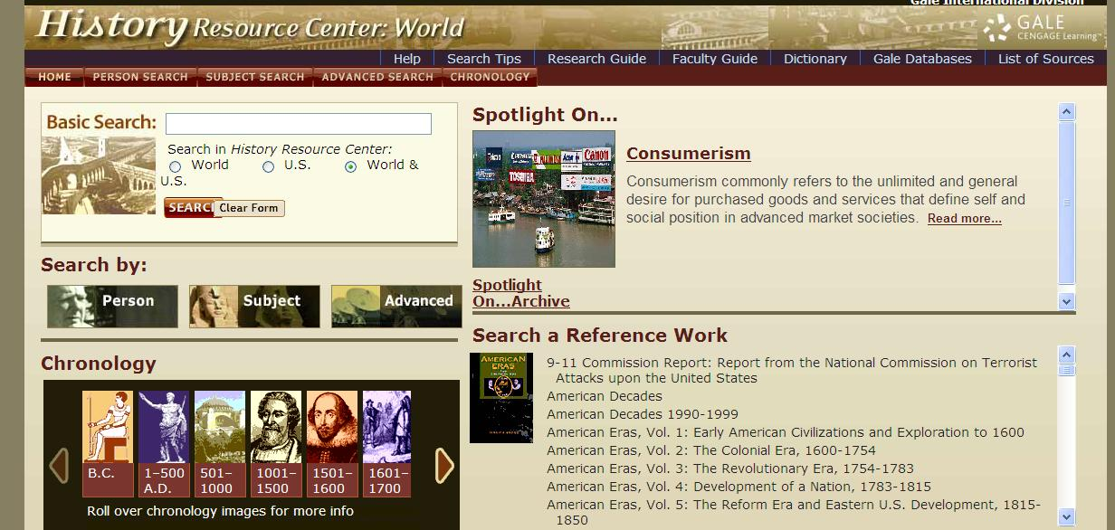 History Resource Center: World